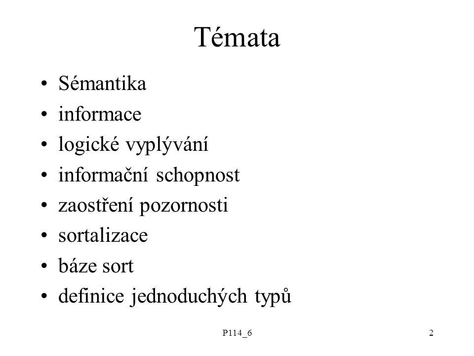P114_62 Témata Sémantika informace logické vyplývání informační schopnost zaostření pozornosti sortalizace báze sort definice jednoduchých typů