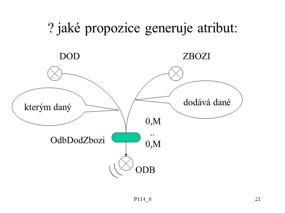 P114_621 . jaké propozice generuje atribut: DODZBOZI ODB kterým daný dodává dané OdbDodZbozi 0,M..
