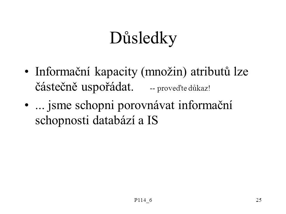 P114_625 Důsledky Informační kapacity (množin) atributů lze částečně uspořádat. -- proveďte důkaz!... jsme schopni porovnávat informační schopnosti da