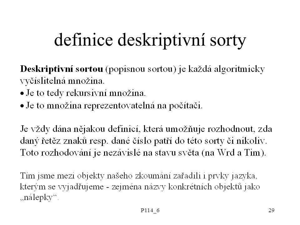 P114_629 definice deskriptivní sorty