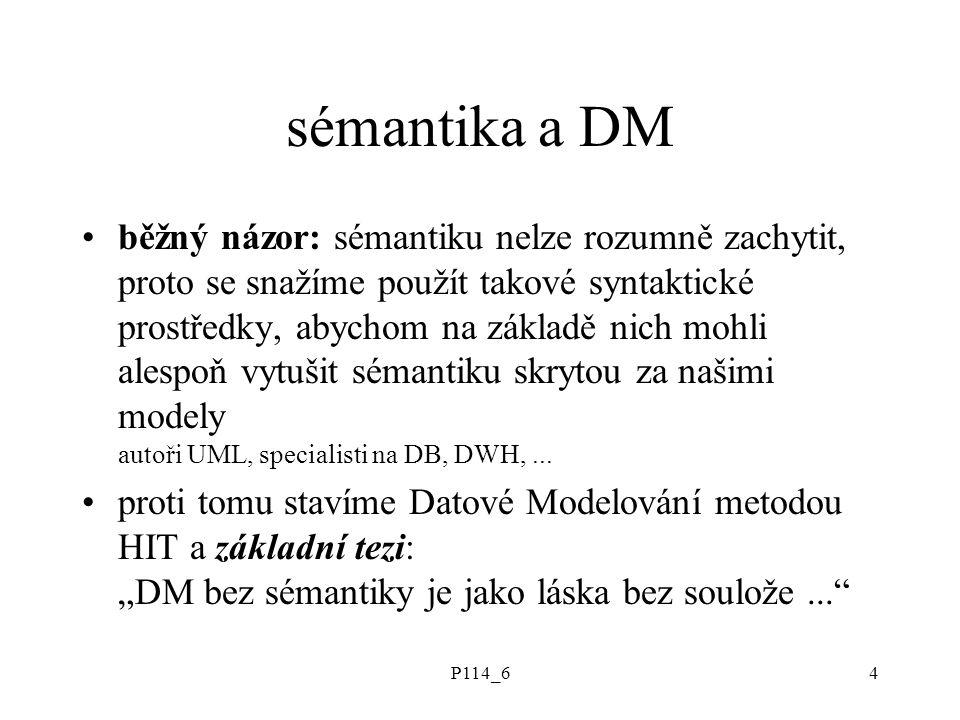 P114_64 sémantika a DM běžný názor: sémantiku nelze rozumně zachytit, proto se snažíme použít takové syntaktické prostředky, abychom na základě nich mohli alespoň vytušit sémantiku skrytou za našimi modely autoři UML, specialisti na DB, DWH,...