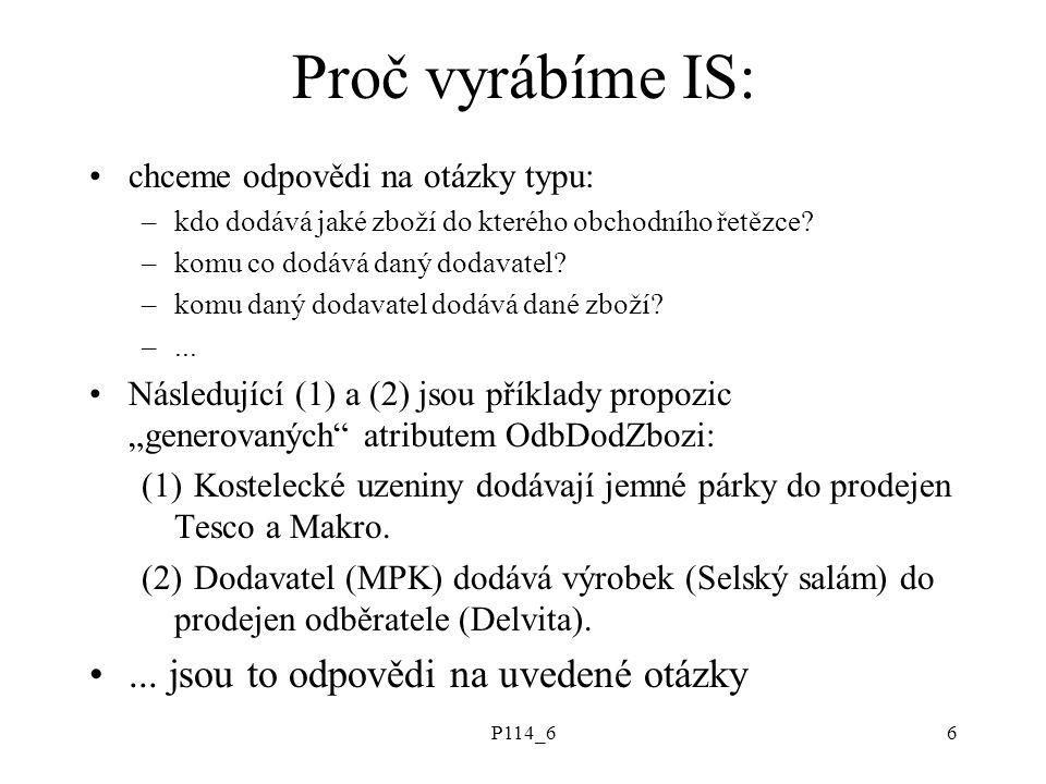 P114_66 Proč vyrábíme IS: chceme odpovědi na otázky typu: –kdo dodává jaké zboží do kterého obchodního řetězce.
