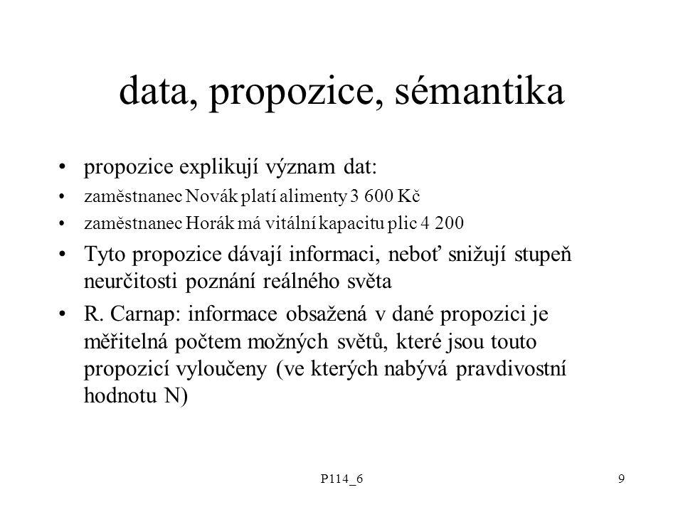 P114_69 data, propozice, sémantika propozice explikují význam dat: zaměstnanec Novák platí alimenty 3 600 Kč zaměstnanec Horák má vitální kapacitu pli