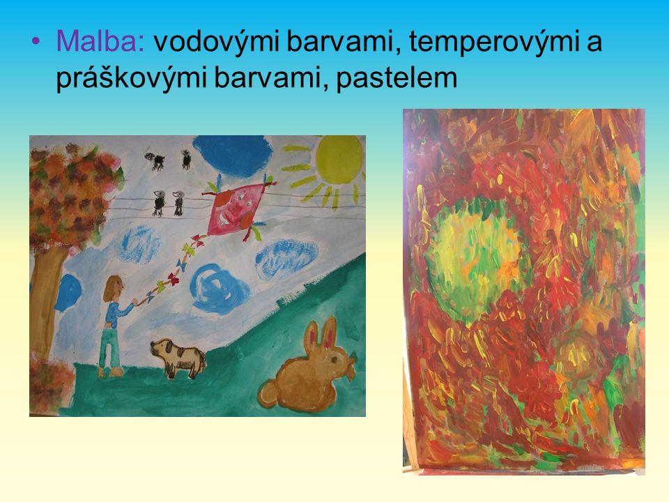 Malba: vodovými barvami, temperovými a práškovými barvami, pastelem