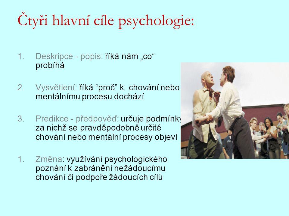 """Čtyři hlavní cíle psychologie: 1.Deskripce - popis: říká nám """"co"""" probíhá 2.Vysvětlení: říká """"proč"""" k chování nebo mentálnímu procesu dochází 3.Predik"""