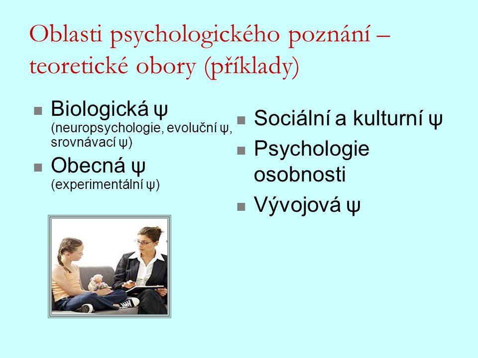 Oblasti psychologického poznání – teoretické obory (příklady) Biologická ψ (neuropsychologie, evoluční ψ, srovnávací ψ) Obecná ψ (experimentální ψ) So