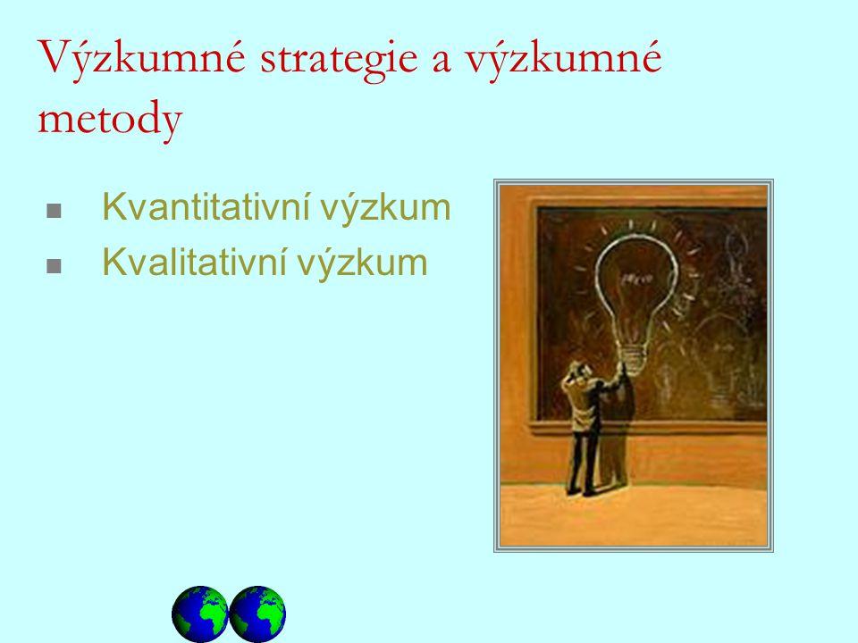 Kvantitativní výzkum Kvalitativní výzkum Výzkumné strategie a výzkumné metody