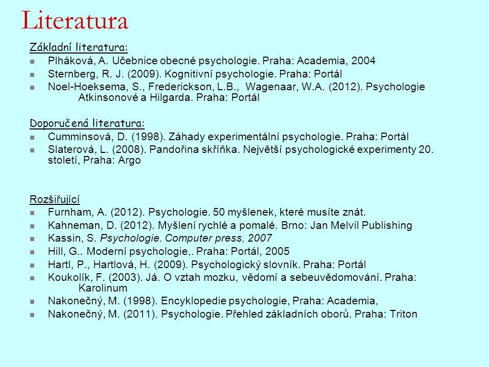 Literatura Základní literatura: Plháková, A. Učebnice obecné psychologie. Praha: Academia, 2004 Sternberg, R. J. (2009). Kognitivní psychologie. Praha