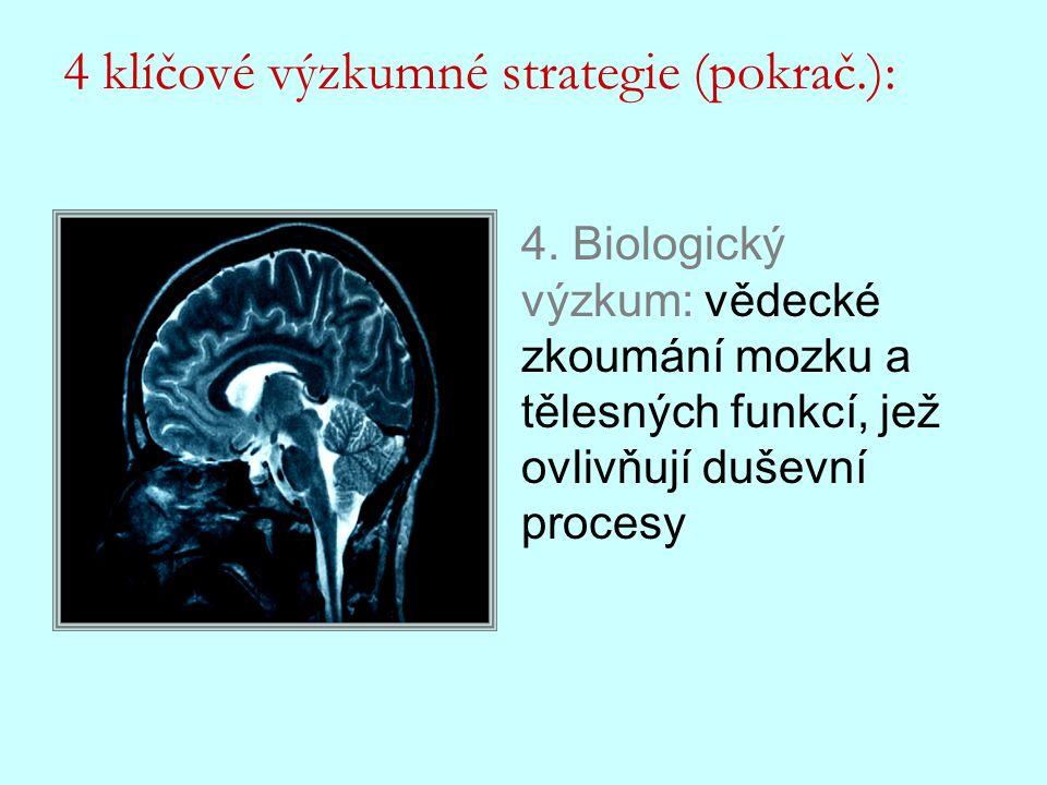 4. Biologický výzkum: vědecké zkoumání mozku a tělesných funkcí, jež ovlivňují duševní procesy 4 klíčové výzkumné strategie (pokrač.):