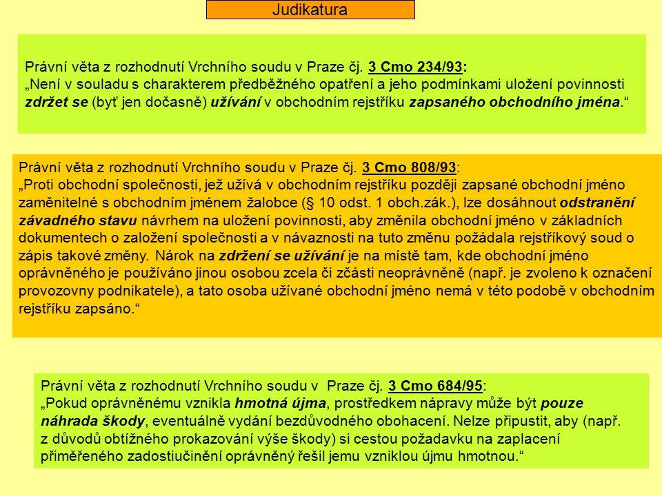 """Právní věta z rozhodnutí Vrchního soudu v Praze čj. 3 Cmo 234/93: """"Není v souladu s charakterem předběžného opatření a jeho podmínkami uložení povinno"""
