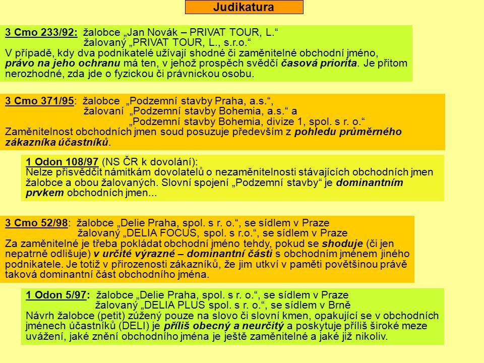 "Judikatura 3 Cmo 371/95: žalobce ""Podzemní stavby Praha, a.s."", žalovaní ""Podzemní stavby Bohemia, a.s."" a ""Podzemní stavby Bohemia, divize 1, spol. s"