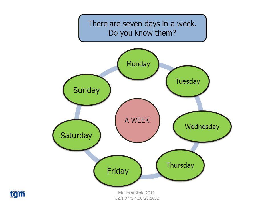 Moderní škola 2011, CZ.1.07/1.4.00/21.1692 There are seven days in a week.