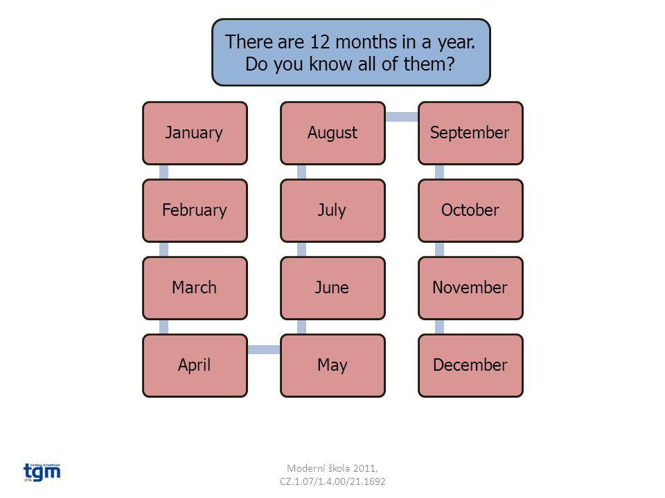 Moderní škola 2011, CZ.1.07/1.4.00/21.1692 JanuaryFebruaryMarchAprilMayJuneJulyAugustSeptemberOctoberNovemberDecember There are 12 months in a year.