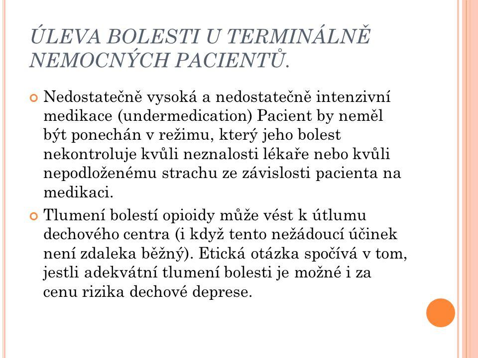 ÚLEVA BOLESTI U TERMINÁLNĚ NEMOCNÝCH PACIENTŮ. Nedostatečně vysoká a nedostatečně intenzivní medikace (undermedication) Pacient by neměl být ponechán
