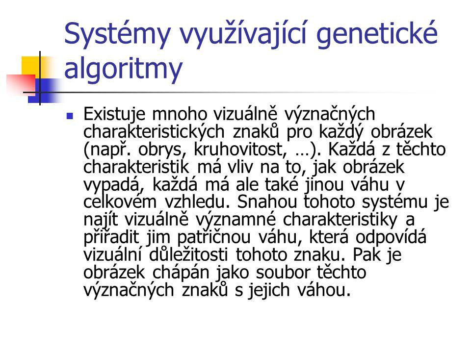 Systémy využívající genetické algoritmy Existuje mnoho vizuálně význačných charakteristických znaků pro každý obrázek (např.