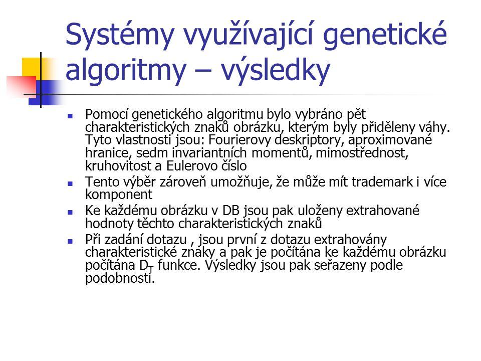Systémy využívající genetické algoritmy – výsledky Pomocí genetického algoritmu bylo vybráno pět charakteristických znaků obrázku, kterým byly přiděleny váhy.
