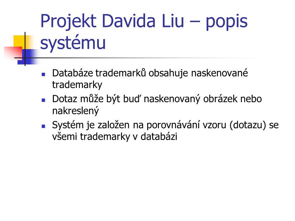 Projekt Davida Liu – popis systému Databáze trademarků obsahuje naskenované trademarky Dotaz může být buď naskenovaný obrázek nebo nakreslený Systém je založen na porovnávání vzoru (dotazu) se všemi trademarky v databázi