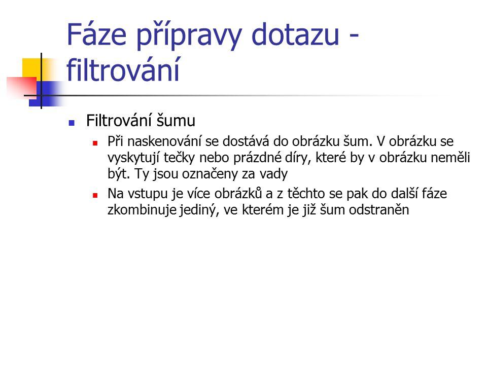 Fáze přípravy dotazu - filtrování Filtrování šumu Při naskenování se dostává do obrázku šum.
