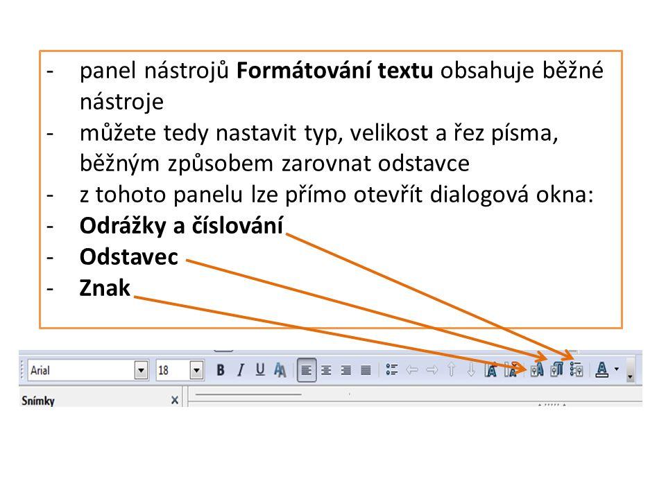 -panel nástrojů Formátování textu obsahuje běžné nástroje -můžete tedy nastavit typ, velikost a řez písma, běžným způsobem zarovnat odstavce -z tohoto panelu lze přímo otevřít dialogová okna: -Odrážky a číslování -Odstavec -Znak