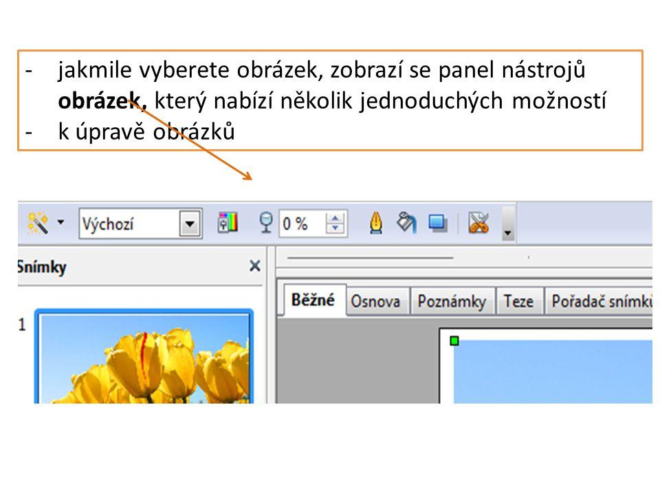 -jakmile vyberete obrázek, zobrazí se panel nástrojů obrázek, který nabízí několik jednoduchých možností -k úpravě obrázků