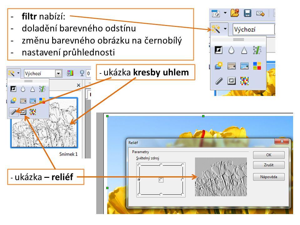 -filtr nabízí: -doladění barevného odstínu -změnu barevného obrázku na černobílý -nastavení průhlednosti - ukázka kresby uhlem - ukázka – reliéf