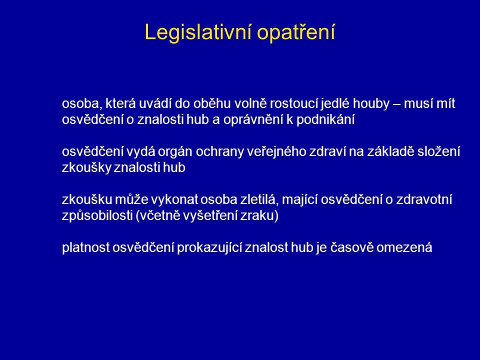 Legislativní opatření osoba, která uvádí do oběhu volně rostoucí jedlé houby – musí mít osvědčení o znalosti hub a oprávnění k podnikání osvědčení vyd