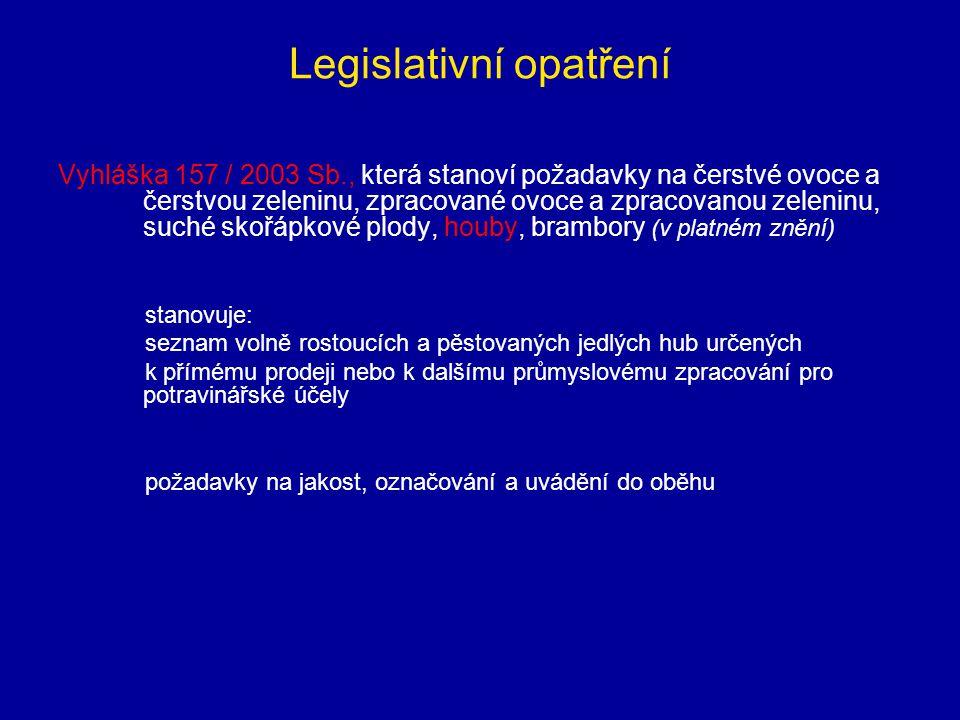 Legislativní opatření Vyhláška 157 / 2003 Sb., která stanoví požadavky na čerstvé ovoce a čerstvou zeleninu, zpracované ovoce a zpracovanou zeleninu,