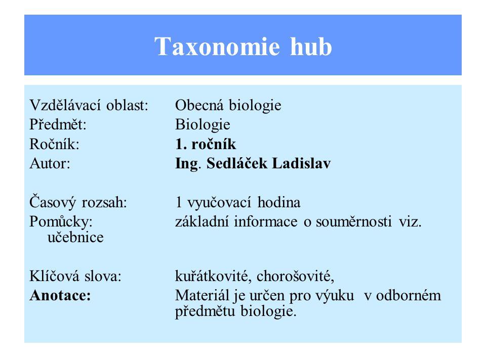 Taxonomie hub Vzdělávací oblast:Obecná biologie Předmět:Biologie Ročník:1.