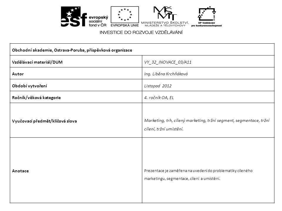 Obchodní akademie, Ostrava-Poruba, příspěvková organizace Vzdělávací materiál/DUMVY_32_INOVACE_03/A11 AutorIng.