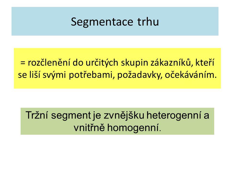 Segmentace trhu = rozčlenění do určitých skupin zákazníků, kteří se liší svými potřebami, požadavky, očekáváním. Tržní segment je zvnějšku heterogenní