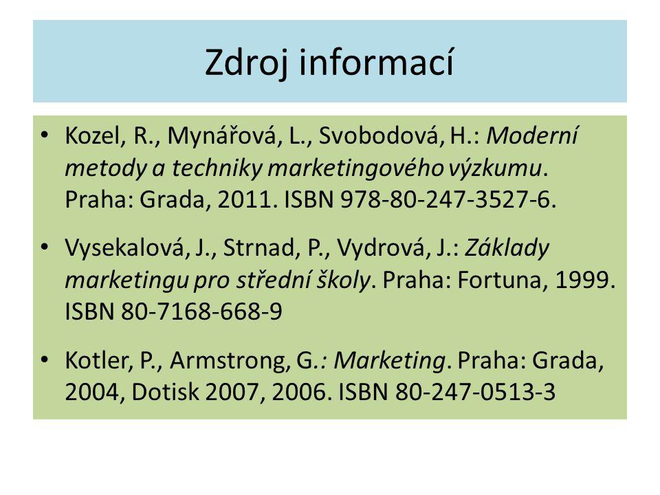 Zdroj informací Kozel, R., Mynářová, L., Svobodová, H.: Moderní metody a techniky marketingového výzkumu. Praha: Grada, 2011. ISBN 978-80-247-3527-6.