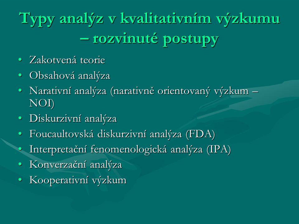 Typy analýz v kvalitativním výzkumu – rozvinuté postupy Zakotvená teorieZakotvená teorie Obsahová analýzaObsahová analýza Narativní analýza (narativně
