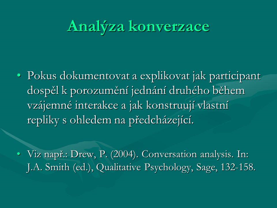 Analýza konverzace Pokus dokumentovat a explikovat jak participant dospěl k porozumění jednání druhého během vzájemné interakce a jak konstruují vlast