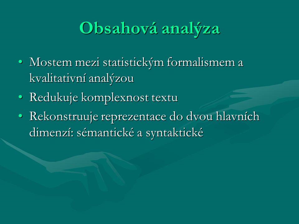 Obsahová analýza Mostem mezi statistickým formalismem a kvalitativní analýzouMostem mezi statistickým formalismem a kvalitativní analýzou Redukuje kom