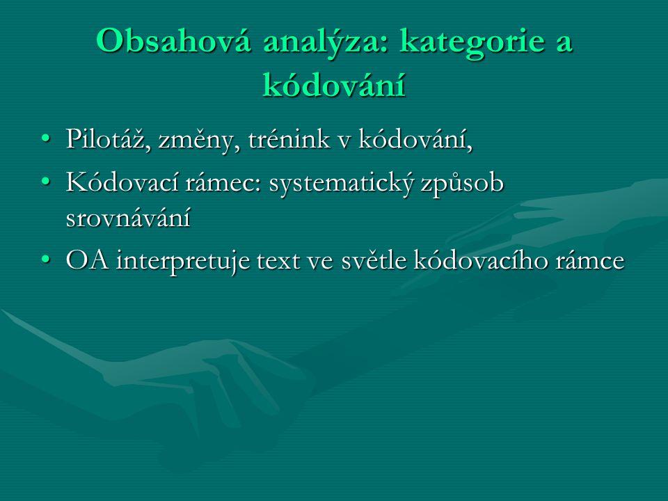 Obsahová analýza: kategorie a kódování Pilotáž, změny, trénink v kódování,Pilotáž, změny, trénink v kódování, Kódovací rámec: systematický způsob srov