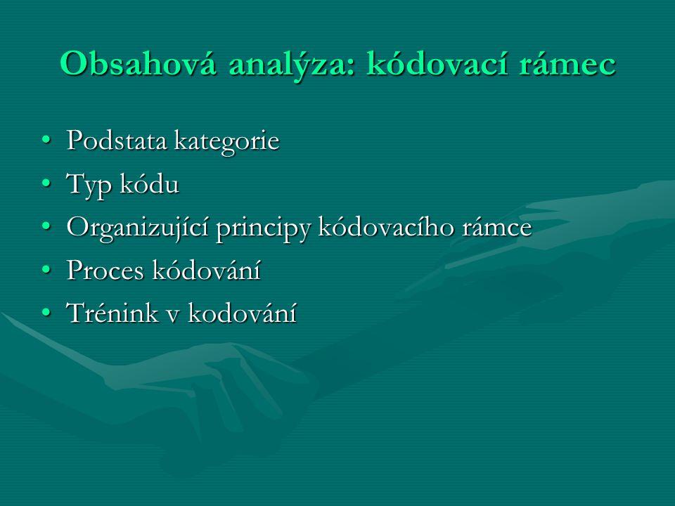 Obsahová analýza: kódovací rámec Podstata kategoriePodstata kategorie Typ kóduTyp kódu Organizující principy kódovacího rámceOrganizující principy kód