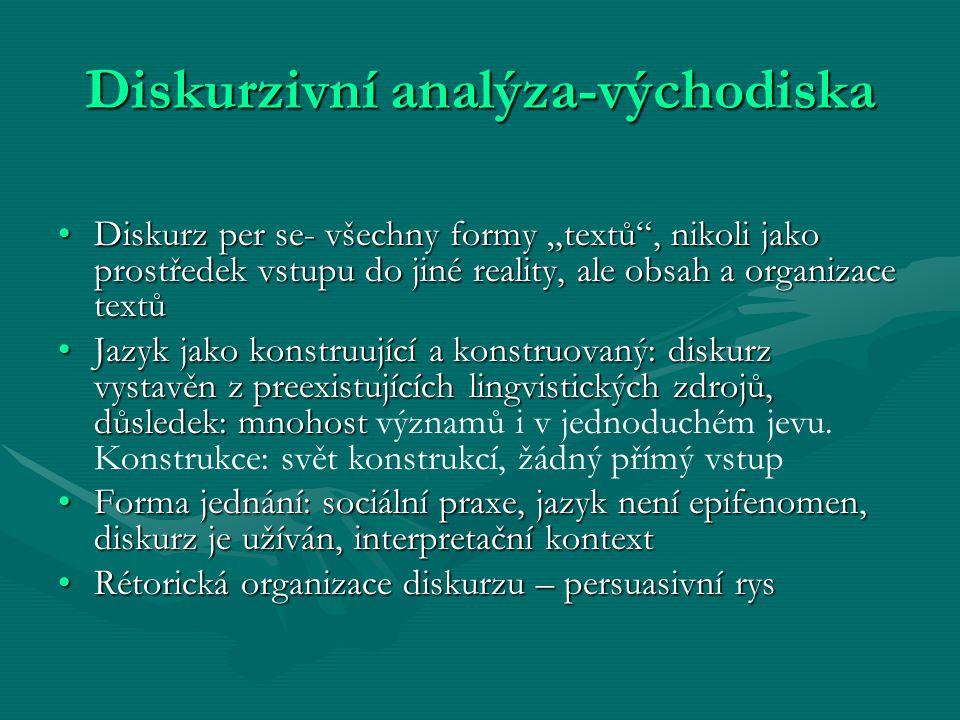 """Diskurzivní analýza-východiska Diskurz per se- všechny formy """"textů"""", nikoli jako prostředek vstupu do jiné reality, ale obsah a organizace textůDisku"""