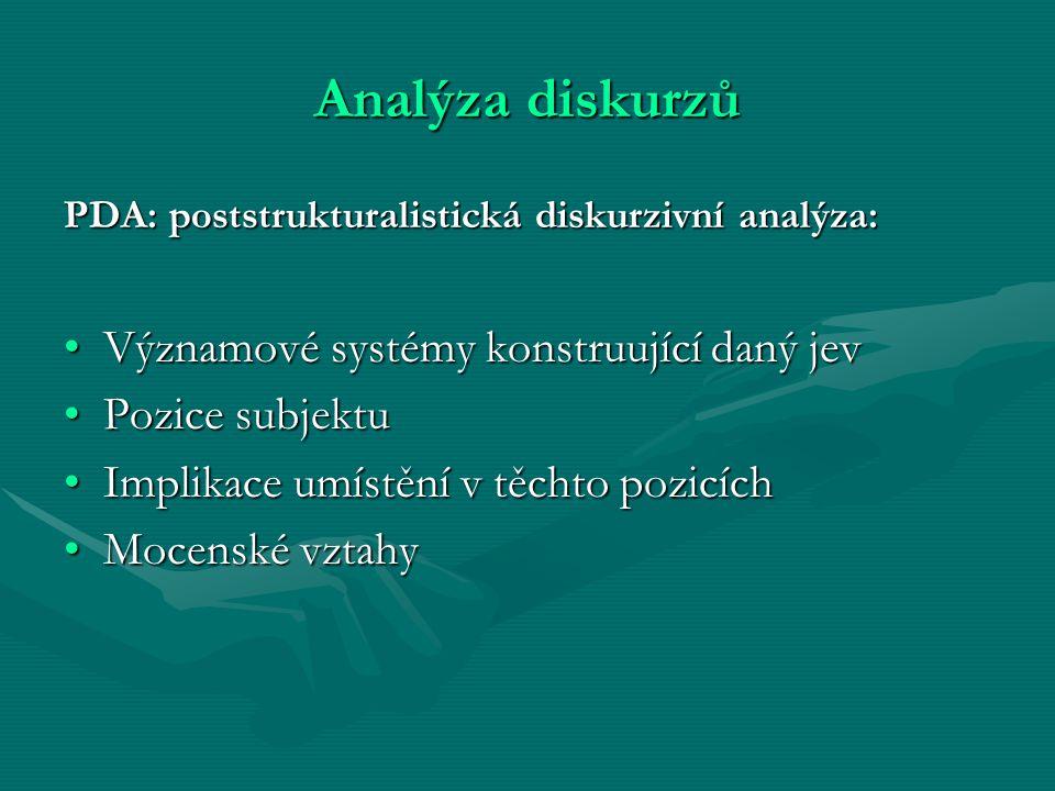 Analýza diskurzů PDA: poststrukturalistická diskurzivní analýza: Významové systémy konstruující daný jevVýznamové systémy konstruující daný jev Pozice