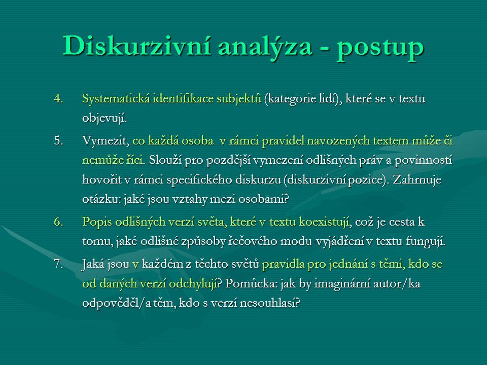 Diskurzivní analýza - postup 4.Systematická identifikace subjektů (kategorie lidí), které se v textu objevují. 5.Vymezit, co každá osoba v rámci pravi