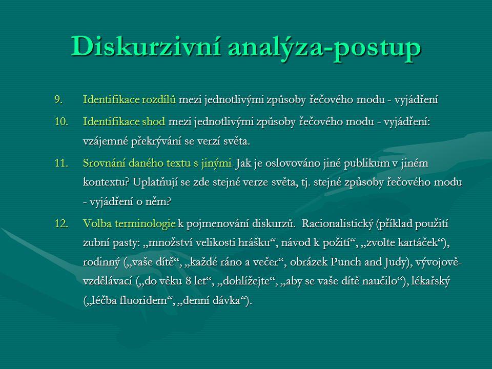 Diskurzivní analýza-postup 9.Identifikace rozdílů mezi jednotlivými způsoby řečového modu - vyjádření 10.Identifikace shod mezi jednotlivými způsoby ř
