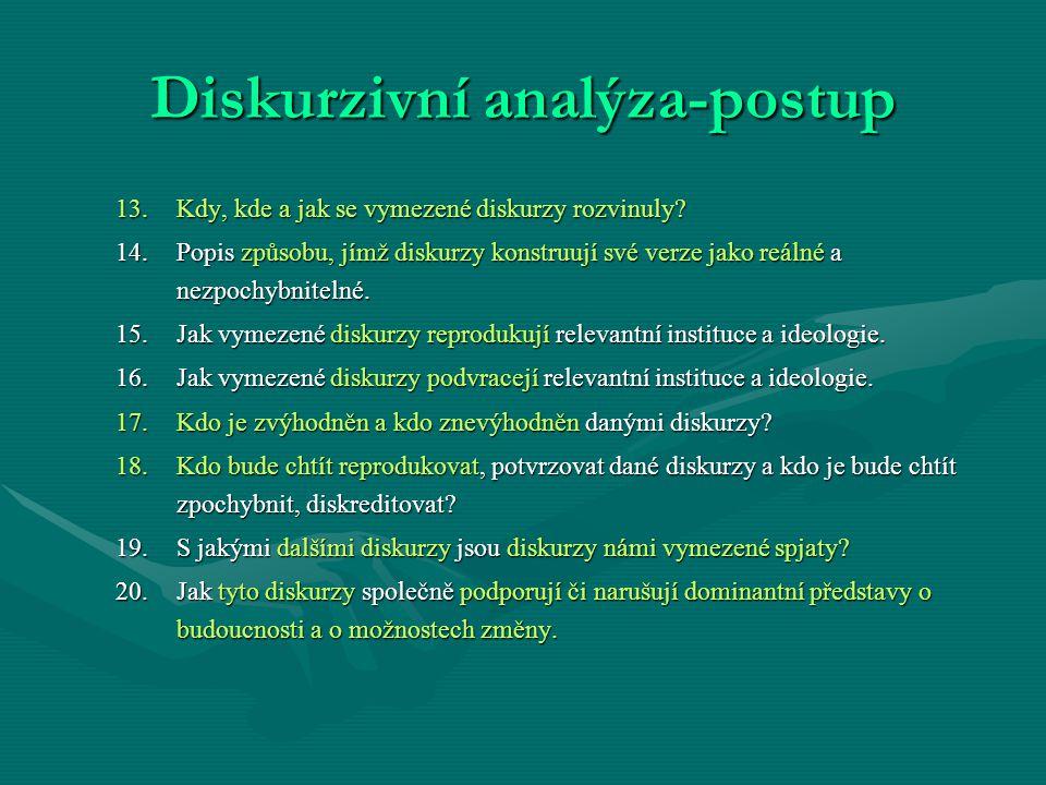 Diskurzivní analýza-postup 13.Kdy, kde a jak se vymezené diskurzy rozvinuly? 14.Popis způsobu, jímž diskurzy konstruují své verze jako reálné a nezpoc