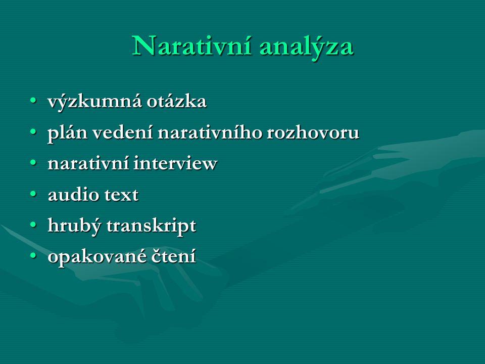 Narativní analýza výzkumná otázkavýzkumná otázka plán vedení narativního rozhovoruplán vedení narativního rozhovoru narativní interviewnarativní inter