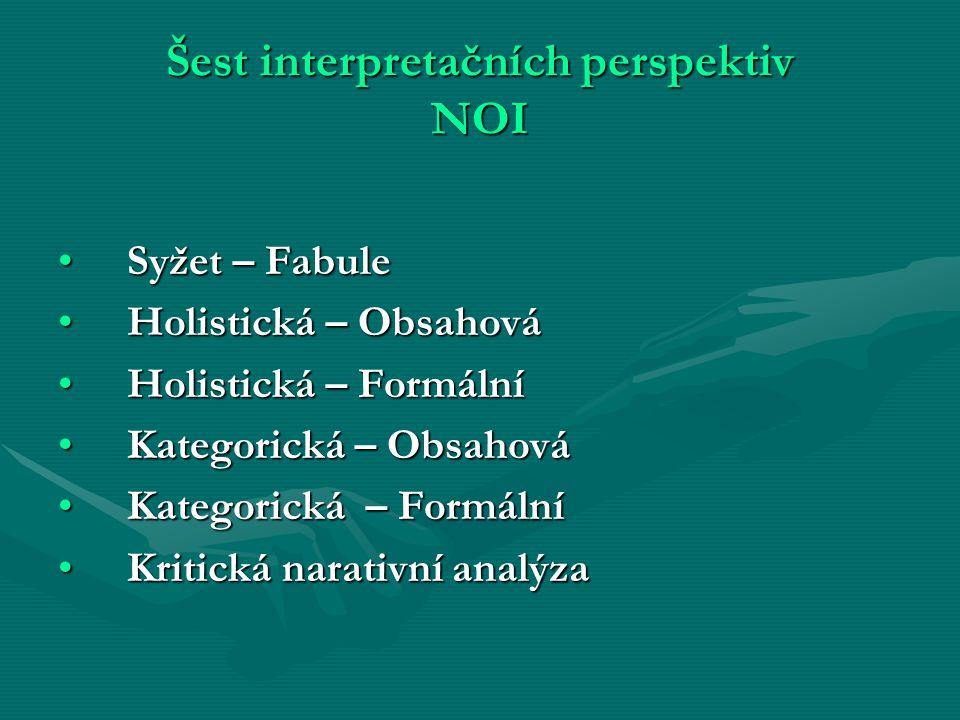 Šest interpretačních perspektiv NOI Syžet – FabuleSyžet – Fabule Holistická – ObsahováHolistická – Obsahová Holistická – FormálníHolistická – Formální