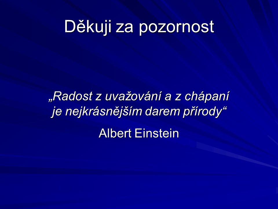 """Děkuji za pozornost """"Radost z uvažování a z chápaní je nejkrásnějším darem přírody Albert Einstein"""