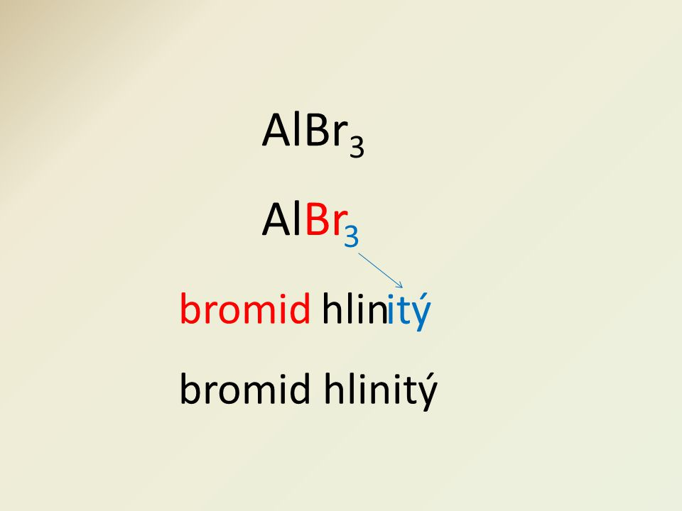 bromid itý AlBr 3 AlBr 3 hlin bromid hlinitý
