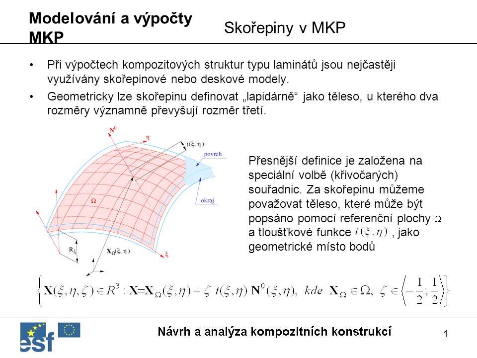 1 Modelování a výpočty MKP Při výpočtech kompozitových struktur typu laminátů jsou nejčastěji využívány skořepinové nebo deskové modely. Geometricky l