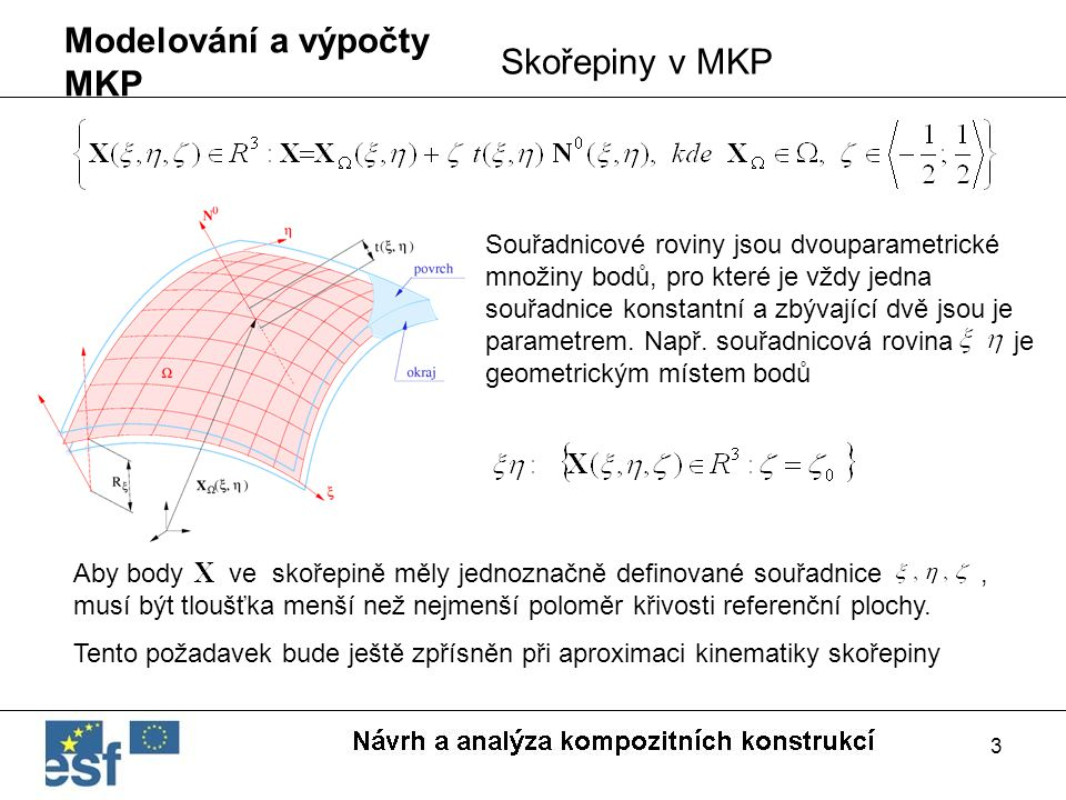3 Modelování a výpočty MKP Skořepiny v MKP Souřadnicové roviny jsou dvouparametrické množiny bodů, pro které je vždy jedna souřadnice konstantní a zbý