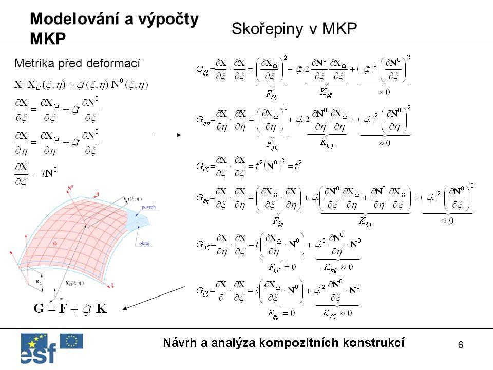 6 Modelování a výpočty MKP Skořepiny v MKP Metrika před deformací