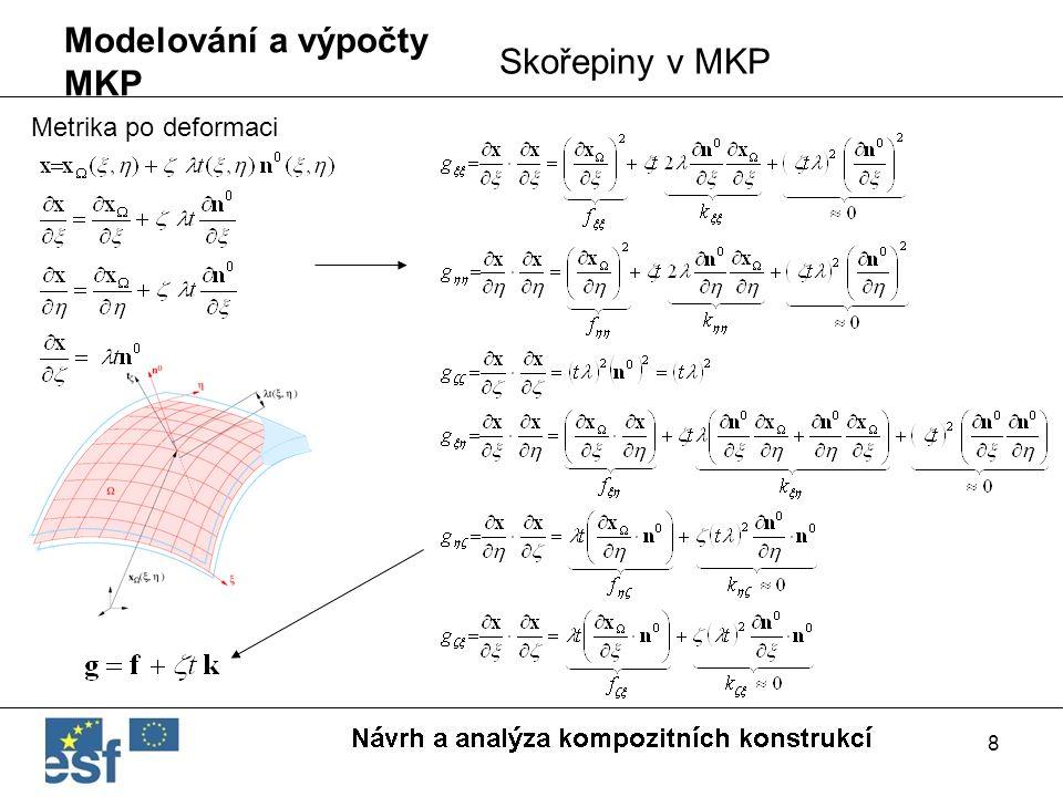 8 Modelování a výpočty MKP Skořepiny v MKP Metrika po deformaci