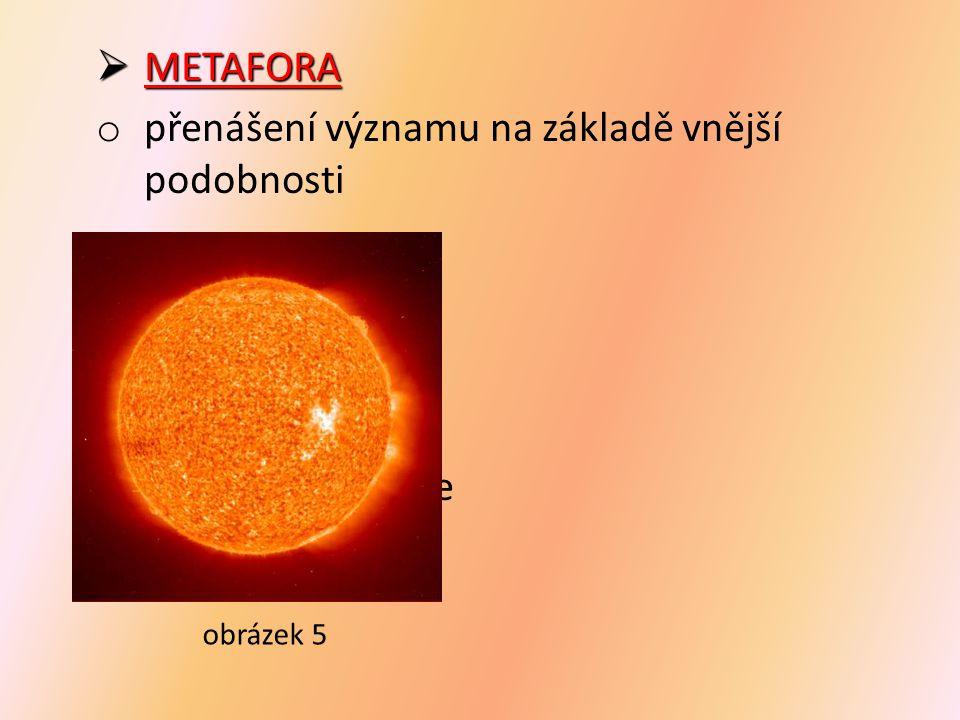  METAFORA o přenášení významu na základě vnější podobnosti slunce př.: slunce  žlutý míč  pomeranč  penízek na obloze  zlatý kočár obrázek 5